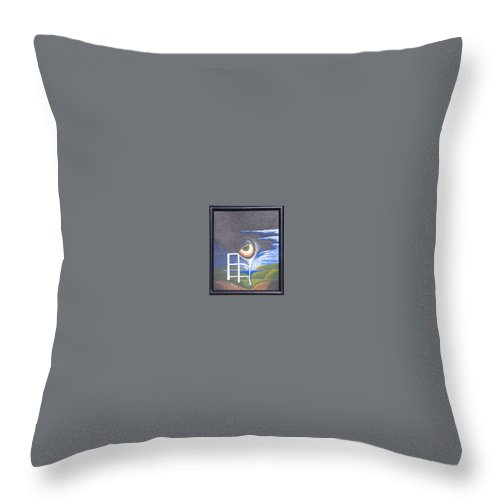 Surrealism Throw Pillow featuring the painting Eyefence by Steve Hester