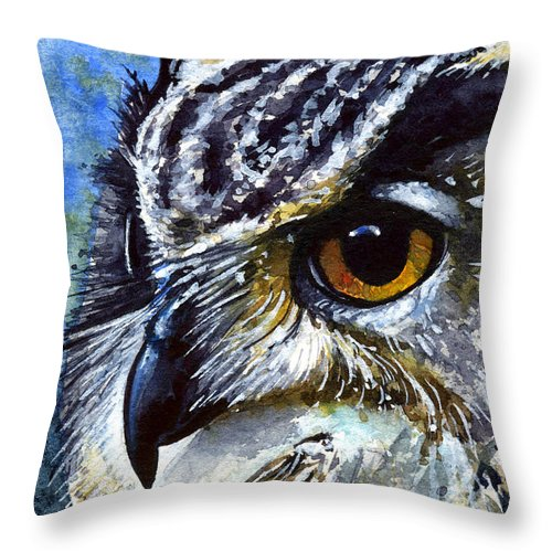 Owls Throw Pillow featuring the painting Eyes Of Owls No.25 by John D Benson