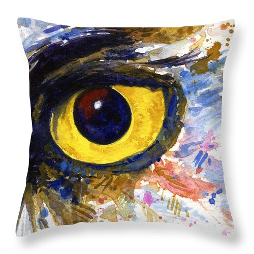 Owls Throw Pillow featuring the painting Eyes of Owl's No.6 by John D Benson