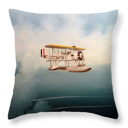 Military Throw Pillow featuring the painting Eyes Of The Fleet by Marc Stewart