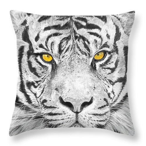 Tiger Throw Pillow featuring the drawing Eyes Of The Tiger by Shawn Stallings