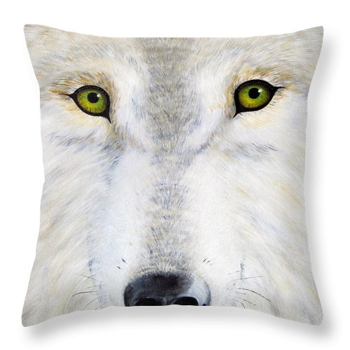 Wolf Throw Pillow featuring the painting Eyes Of The Wolf by Jerome Stumphauzer