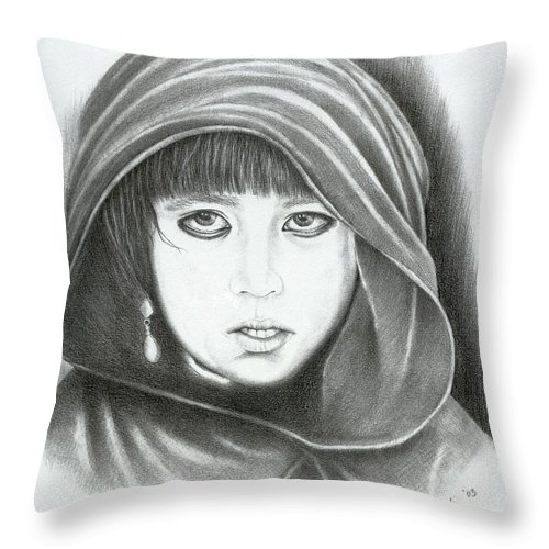 Graphite Throw Pillow featuring the drawing Eyes Of War by Lawrence Tripoli