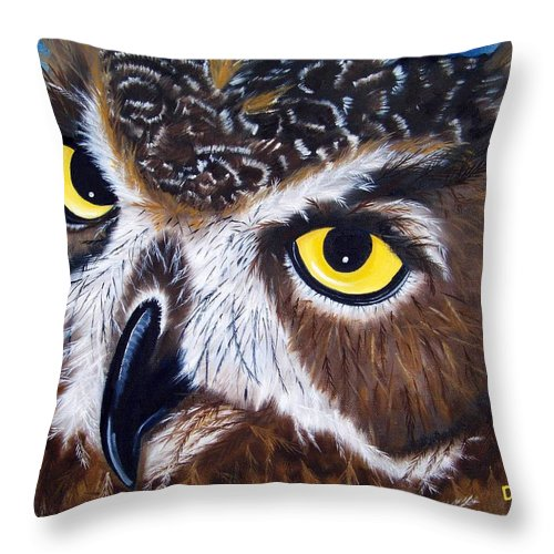 Owl Throw Pillow featuring the painting Eyes Of Wisdom by Debbie LaFrance