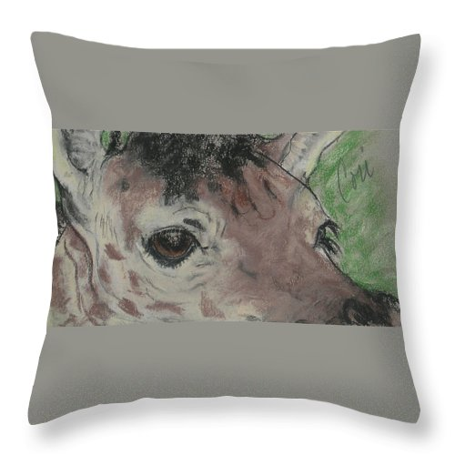 Giraffe Throw Pillow featuring the drawing Eyes On You by Cori Solomon