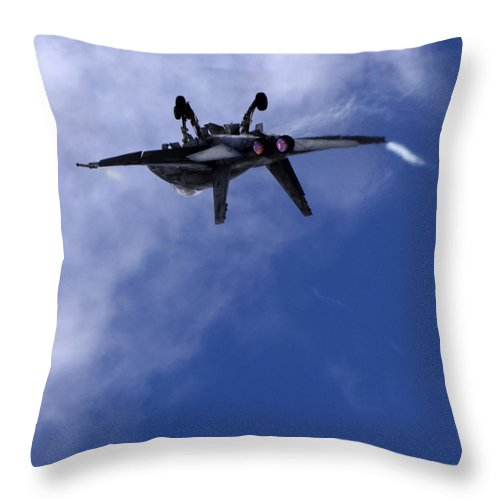 F/a-18 Superhornet Throw Pillow featuring the photograph F 18 Superhornet by Angel Ciesniarska