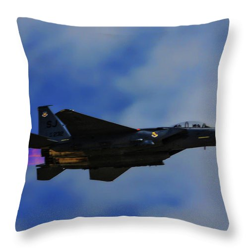 Usaf Throw Pillow featuring the photograph F15 Eagle In Afterburner by Tommy Anderson