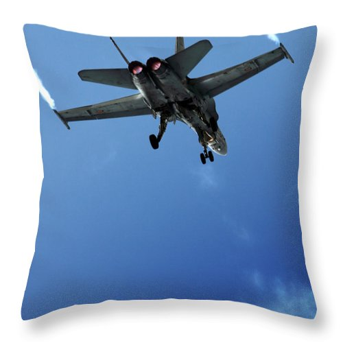 F/a-18 Superhornet Throw Pillow featuring the photograph f18 by Angel Ciesniarska
