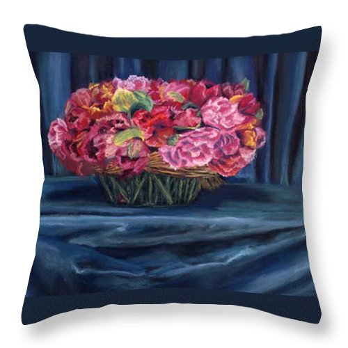 Flowers Throw Pillow featuring the painting Fabric And Flowers by Sharon E Allen