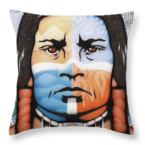 Native Throw Pillow featuring the drawing Fabric Of Harmony by Amy S Turner