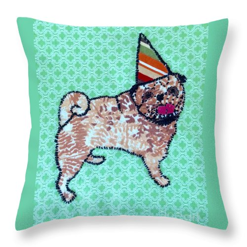 Throw Pillow featuring the tapestry - textile Fabric Pug by Purely Pugs Design