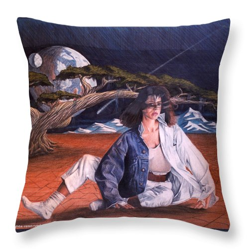 Woman Throw Pillow featuring the drawing Fabrics by Shaun McNicholas
