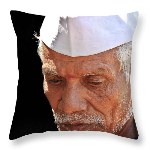 Throw Pillow featuring the photograph Face by Charuhas Images