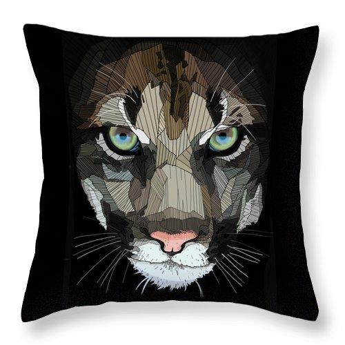 Puma Throw Pillow featuring the digital art Face De Puma by Erman Akyol