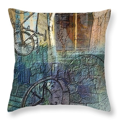 Face Throw Pillow featuring the digital art Face In The Window Embossed Montage by Arline Wagner