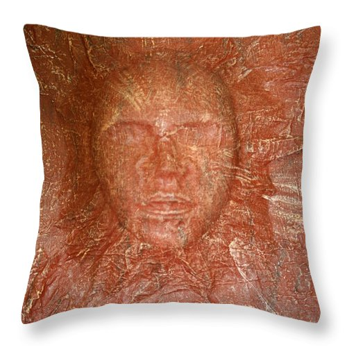 Mask Throw Pillow featuring the painting Face In Wall by Melissa Wiater Chaney