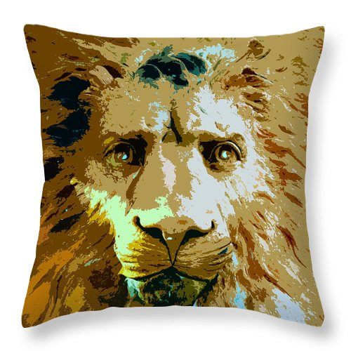 Lion Throw Pillow featuring the painting Face Of The Lion by David Lee Thompson