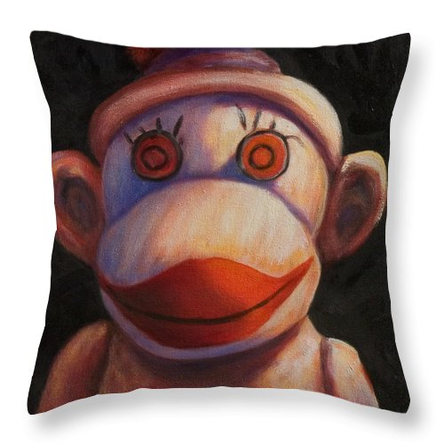 Children Throw Pillow featuring the painting Face by Shannon Grissom