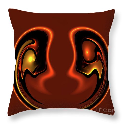 Abstract Face Together Eye Eyes Symbol Friendship Friends Couple Balance Brown Throw Pillow featuring the photograph Face To Face by Steve K