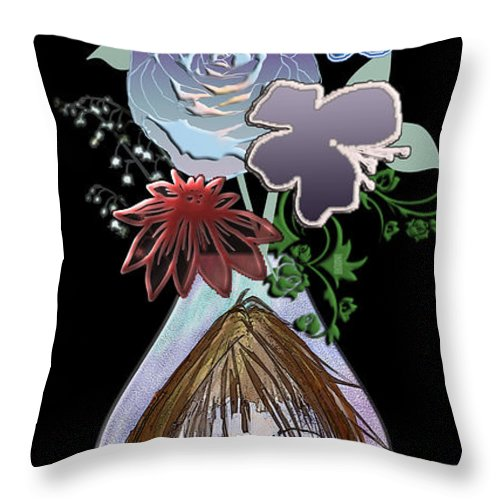 Flowers Throw Pillow featuring the digital art Face Vase by Arline Wagner