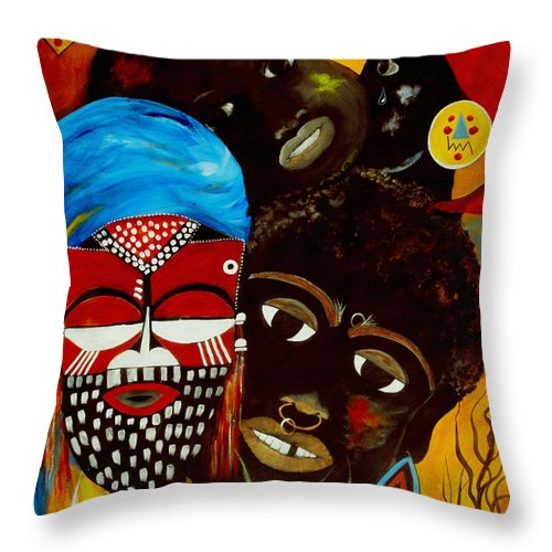 Abstract Throw Pillow featuring the painting Faces Of Africa by Ruth Palmer