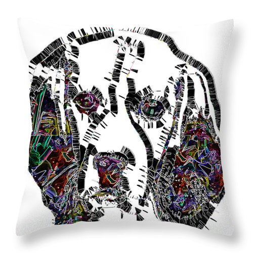 Pop Art Throw Pillow featuring the digital art Faces Of Life 37 Beagle Color by Dalon Ryan