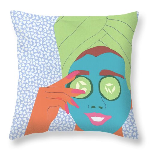 Face Throw Pillow featuring the mixed media Facial Masque by Debra Bretton Robinson