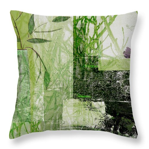 Abstract Throw Pillow featuring the mixed media Faded Floral by Ruth Palmer