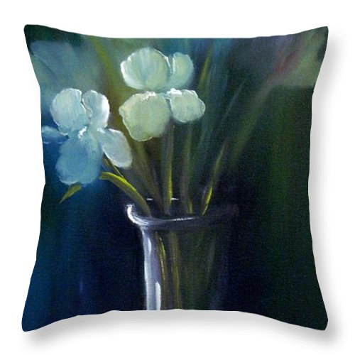 Iris Throw Pillow featuring the painting Fading Memories by Carol Sweetwood