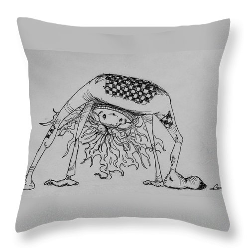 Fae Throw Pillow featuring the drawing Fae's Best Side by Jason Strong