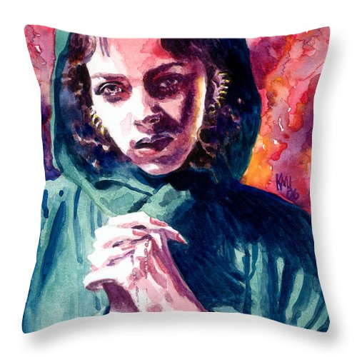 Women Throw Pillow featuring the painting Fair One by Ken Meyer