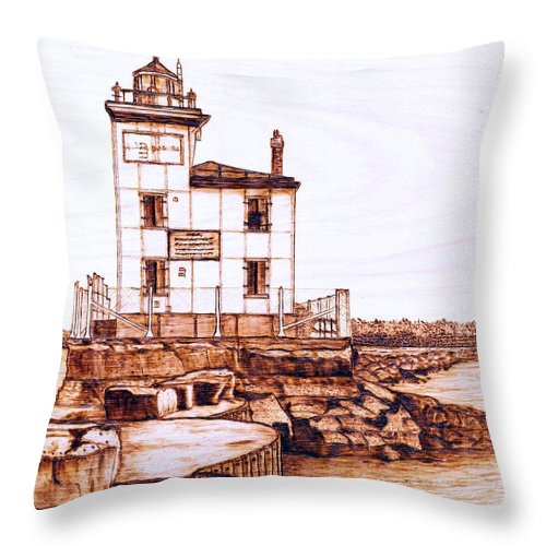 Lighthouse Throw Pillow featuring the pyrography Fair Port Harbor by Danette Smith