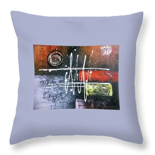 Throw Pillow featuring the painting Fairdeal by Oluwafemi Adeoti