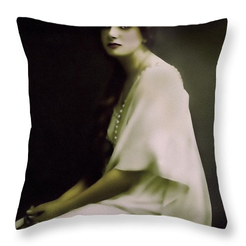 Portrait Throw Pillow featuring the mixed media Fairest Indian Girl by Georgiana Romanovna