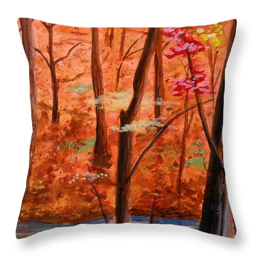 Woods Throw Pillow featuring the painting Fairfax Fall by Ken Meyer