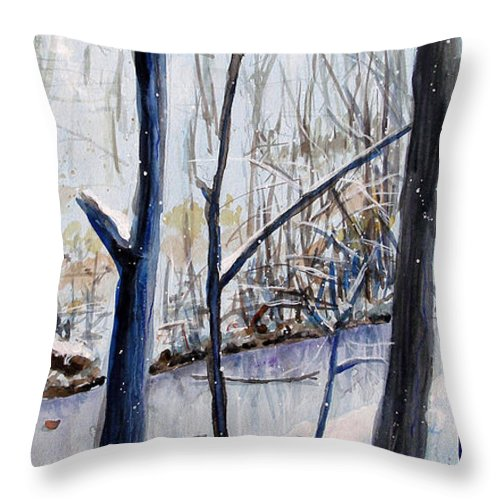 Woods Throw Pillow featuring the painting Fairfax Winter by Ken Meyer
