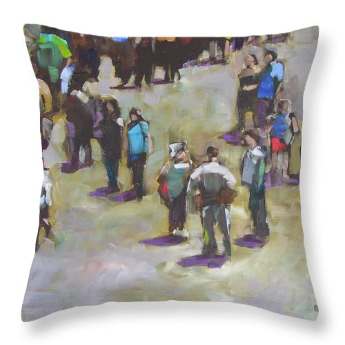 Oil Throw Pillow featuring the painting Fairgoers by Mary McInnis