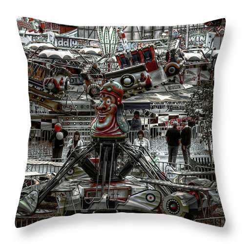 People Throw Pillow featuring the photograph Fairground Narrative by Wayne Sherriff