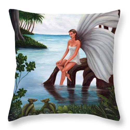 Fairies Throw Pillow featuring the painting Fairies Glade by Anne Kushnick