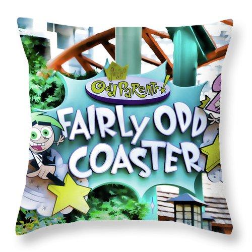 Fairly Odd Coaster Throw Pillow featuring the painting Fairly Odd Coaster by Jeelan Clark