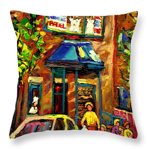 Fairmount Bagel Throw Pillow featuring the painting Fairmount Bagel In Montreal by Carole Spandau