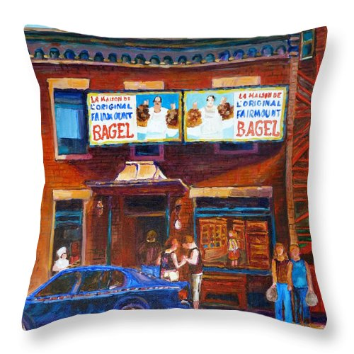 Fairmount Bagel Throw Pillow featuring the painting Fairmount Bagel With Blue Car by Carole Spandau