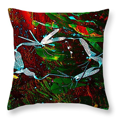 Susan Vineyard Throw Pillow featuring the photograph Fairy Dragonfly Ring by Susan Vineyard