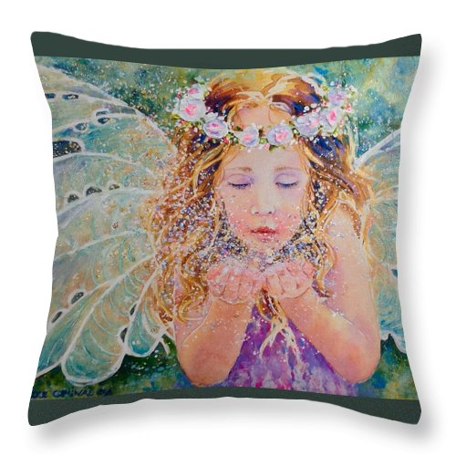 Throw Pillow featuring the painting Fairy Dust by Nicole Gelinas