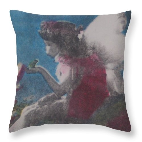 Fairy Throw Pillow featuring the mixed media Fairy by Emily Young