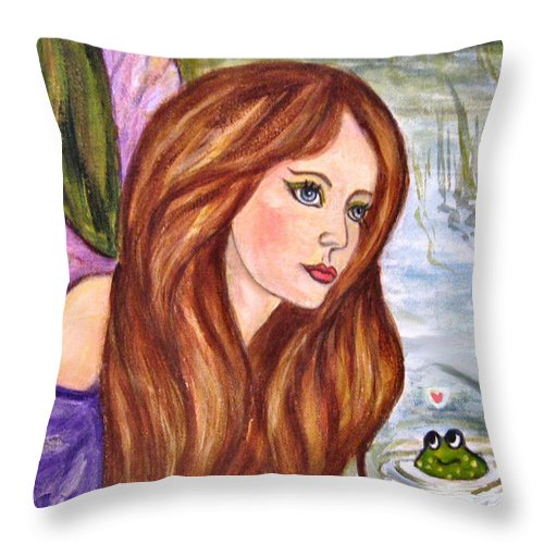 Swamp Fairy Throw Pillow featuring the painting Fairy by Frances Gillotti