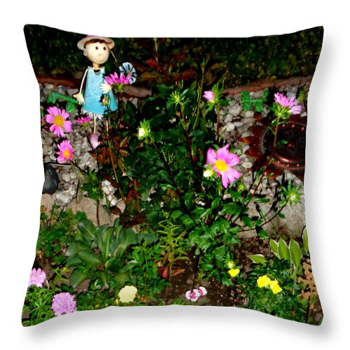Abstract Throw Pillow featuring the photograph Fairy Garden by J Andrel