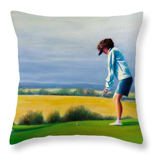 Golfer Throw Pillow featuring the painting Fairy Golf Mother by Shannon Grissom