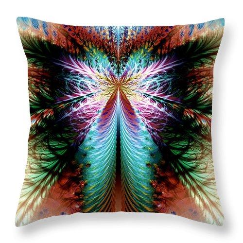 Fractal Throw Pillow featuring the digital art Fairy In Flight Hd by Kenneth Keller