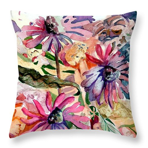Daisy Throw Pillow featuring the painting Fairy Land by Mindy Newman